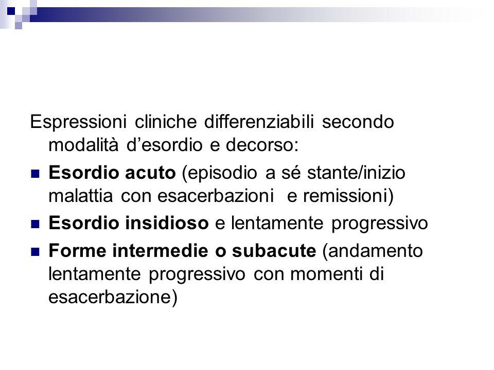 Espressioni cliniche differenziabili secondo modalità d'esordio e decorso: Esordio acuto (episodio a sé stante/inizio malattia con esacerbazioni e rem