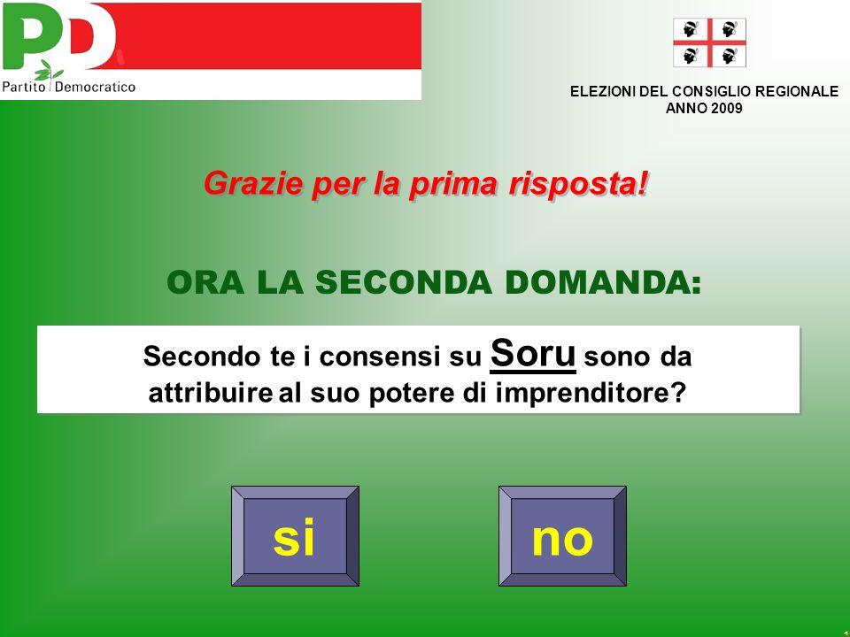si ELEZIONI DEL CONSIGLIO REGIONALE ANNO 2009 PRIMA DOMANDA: Soru può essere l'unico candidato al ruolo di Governatore della Sardegna.