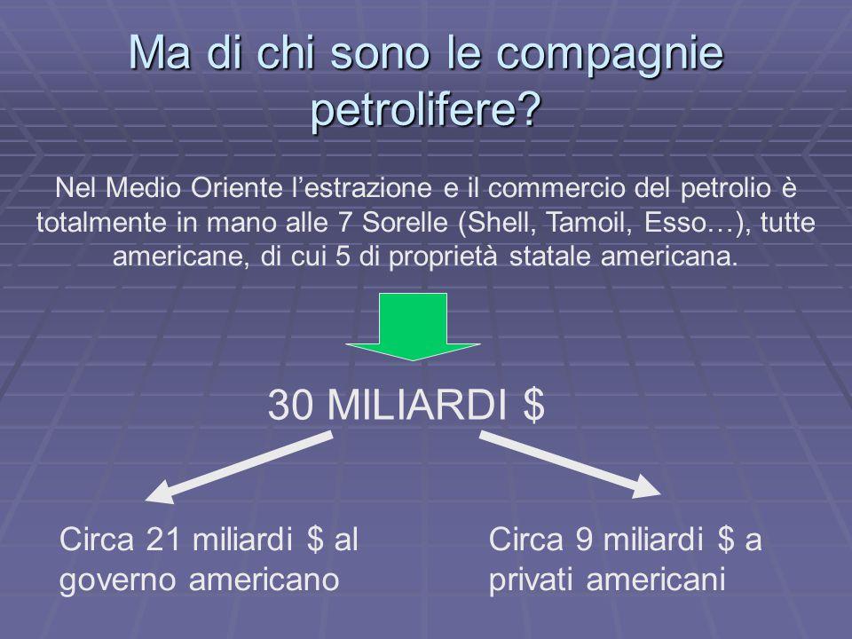 Ma di chi sono le compagnie petrolifere? Nel Medio Oriente l'estrazione e il commercio del petrolio è totalmente in mano alle 7 Sorelle (Shell, Tamoil