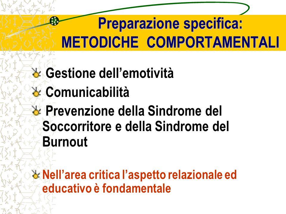 Gestione dell'emotività Comunicabilità Prevenzione della Sindrome del Soccorritore e della Sindrome del Burnout Nell'area critica l'aspetto relazionale ed educativo è fondamentale Preparazione specifica: METODICHE COMPORTAMENTALI