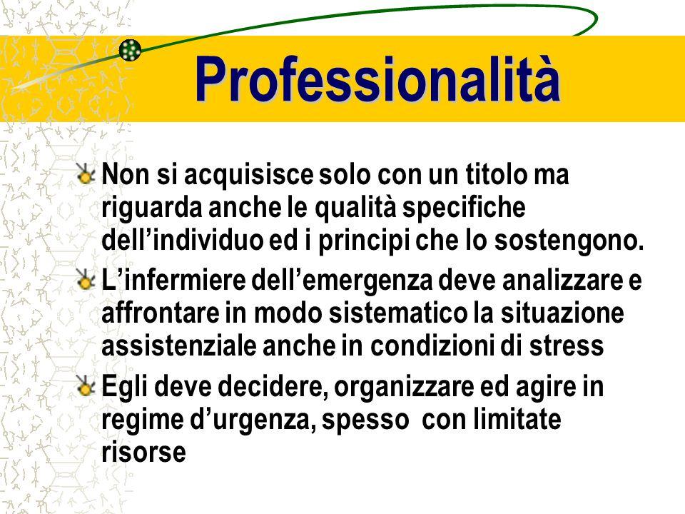 Professionalità Non si acquisisce solo con un titolo ma riguarda anche le qualità specifiche dell'individuo ed i principi che lo sostengono.