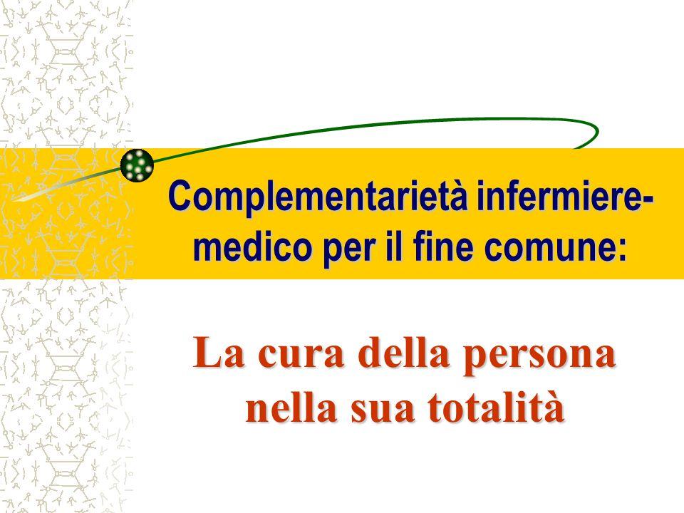 Complementarietà infermiere- medico per il fine comune: La cura della persona nella sua totalità