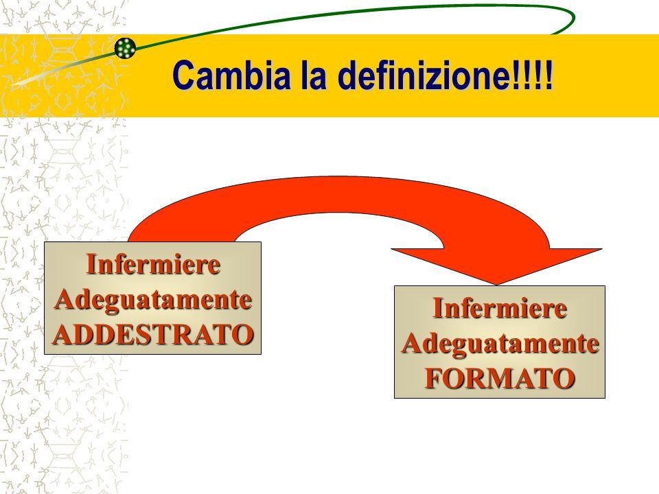 Cambia la definizione!!!! InfermiereAdeguatamenteADDESTRATO InfermiereAdeguatamenteFORMATO