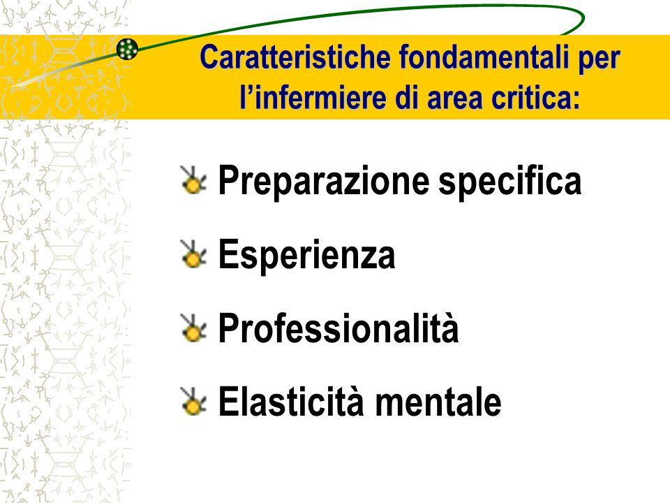Caratteristiche fondamentali per l'infermiere di area critica: Preparazione specifica Esperienza Professionalità Elasticità mentale