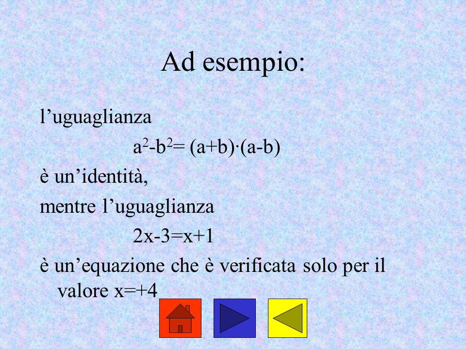 Ad esempio: l'uguaglianza a 2 -b 2 = (a+b)·(a-b) è un'identità, mentre l'uguaglianza 2x-3=x+1 è un'equazione che è verificata solo per il valore x=+4