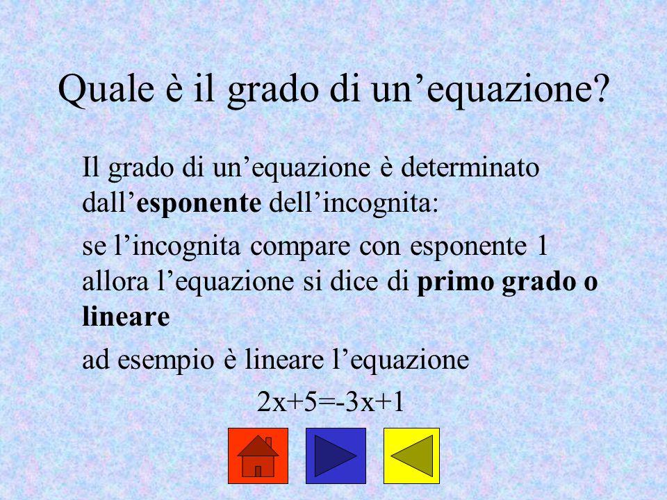 Quale è il grado di un'equazione? Il grado di un'equazione è determinato dall'esponente dell'incognita: se l'incognita compare con esponente 1 allora