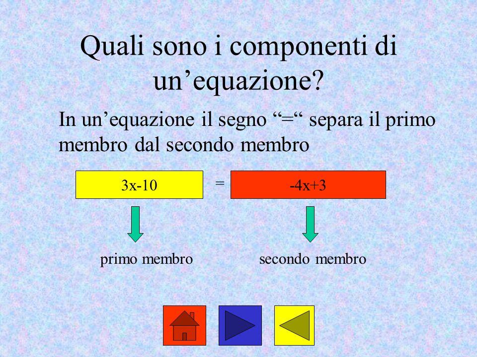 """Quali sono i componenti di un'equazione? In un'equazione il segno """"="""" separa il primo membro dal secondo membro 3x-10-4x+3 = primo membrosecondo membr"""