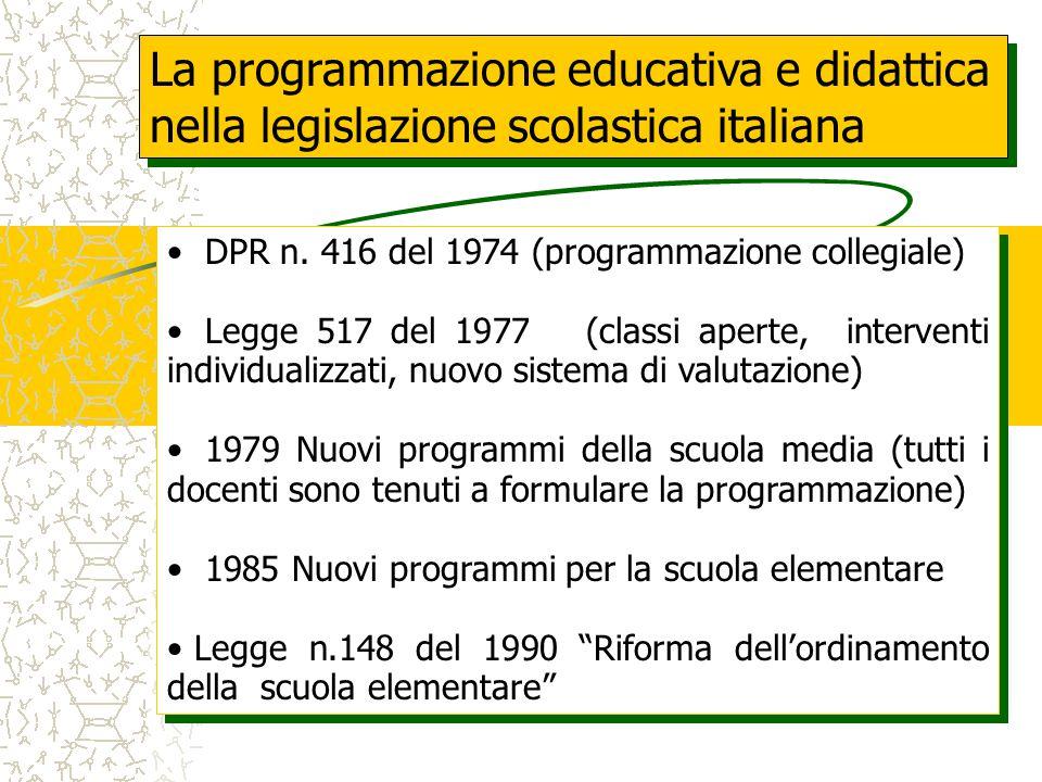 La programmazione educativa e didattica nella legislazione scolastica italiana DPR n.