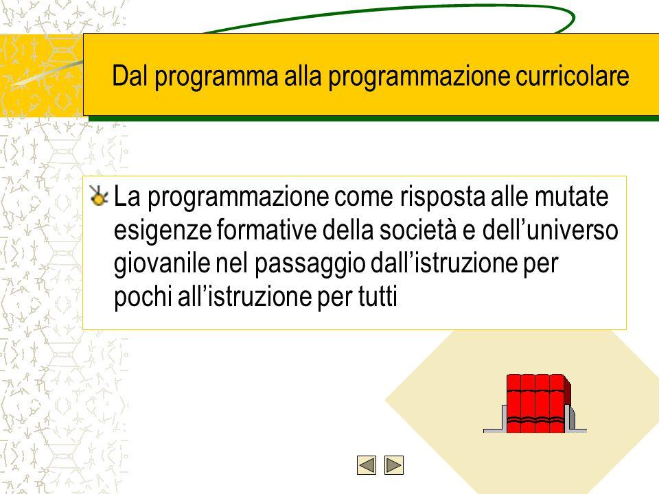 La programmazione educativa e didattica nella legislazione scolastica italiana I Programmi sperimentali della Commissione Brocca I nuovi programmi per la scuola professionale (1992-94) e i programmi sperimentali per gli istituti tecnici I.G.E.A.
