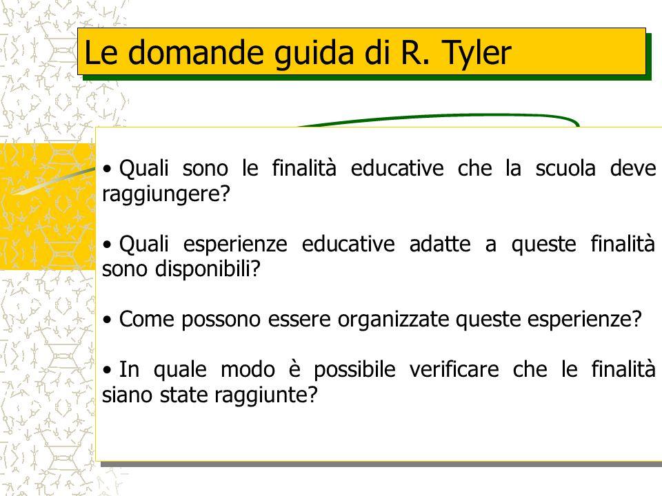 Le domande guida di R.Tyler Quali sono le finalità educative che la scuola deve raggiungere.
