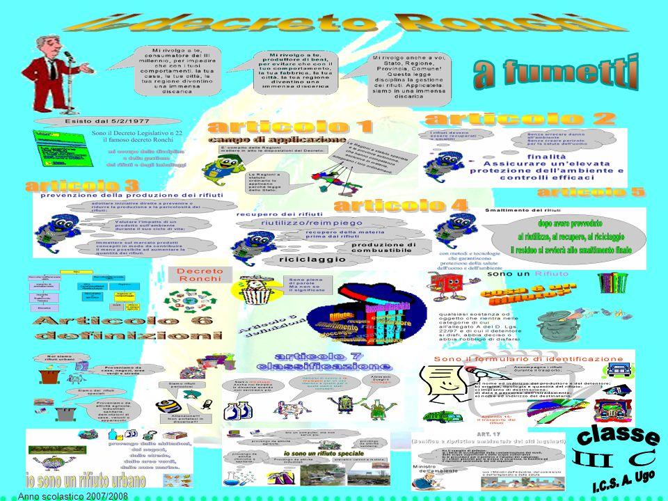 Consigli per un f uturo migliore La locandina del DECRETO RONCHI Differenziamoci Il consumo consapevole Il ciclo dei riciclo e un po' di storia Il Decreto Ronchi raccontato da noi Il Decreto Ronchi a fumetti