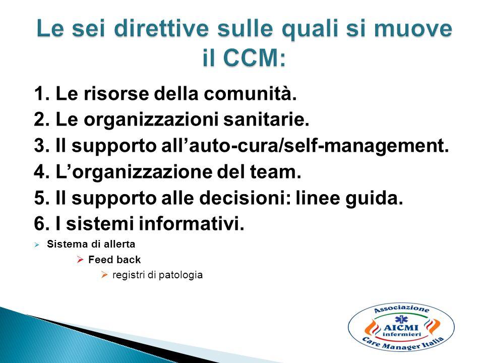 1. Le risorse della comunità. 2. Le organizzazioni sanitarie. 3. Il supporto all'auto-cura/self-management. 4. L'organizzazione del team. 5. Il suppor