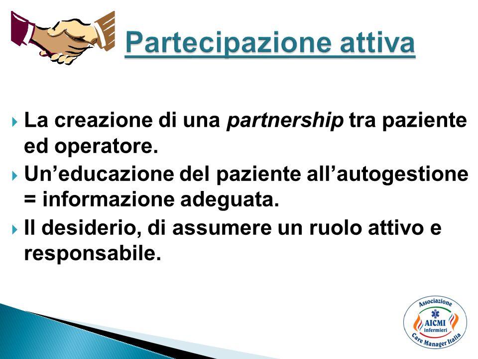  La creazione di una partnership tra paziente ed operatore.  Un'educazione del paziente all'autogestione = informazione adeguata.  Il desiderio, di