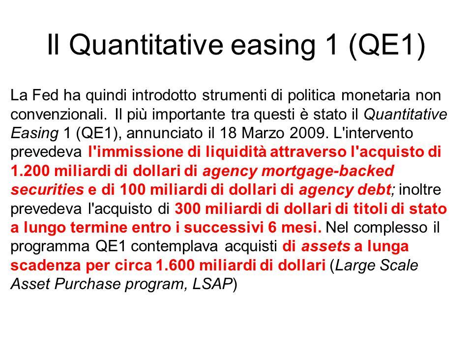 Il Quantitative easing 1 (QE1) La Fed ha quindi introdotto strumenti di politica monetaria non convenzionali. Il più importante tra questi è stato il
