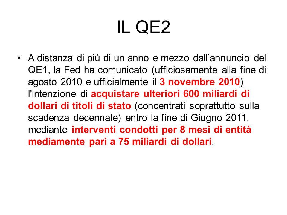 IL QE2 A distanza di più di un anno e mezzo dall'annuncio del QE1, la Fed ha comunicato (ufficiosamente alla fine di agosto 2010 e ufficialmente il 3