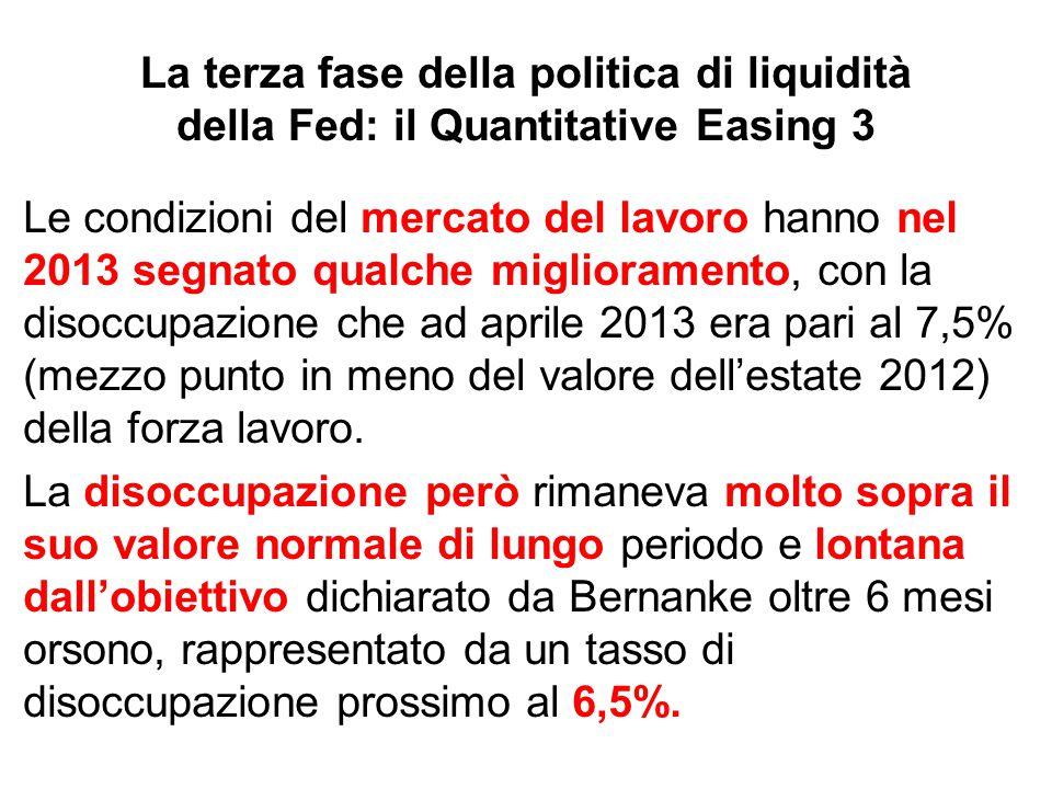 La terza fase della politica di liquidità della Fed: il Quantitative Easing 3 Le condizioni del mercato del lavoro hanno nel 2013 segnato qualche migl
