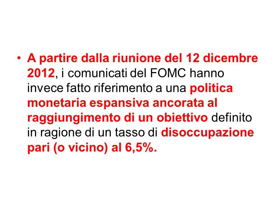 A partire dalla riunione del 12 dicembre 2012, i comunicati del FOMC hanno invece fatto riferimento a una politica monetaria espansiva ancorata al rag