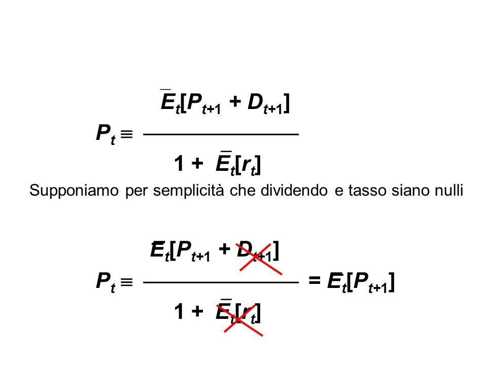  E t [P t+1 + D t+1 ] P t   1 +  E t [r t ] Supponiamo per semplicità che dividendo e tasso siano nulli E t [P t+1 + D t+1 ] P t   =
