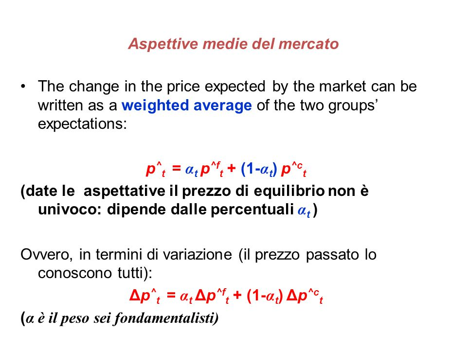 Aspettive medie del mercato The change in the price expected by the market can be written as a weighted average of the two groups' expectations: p ^ t