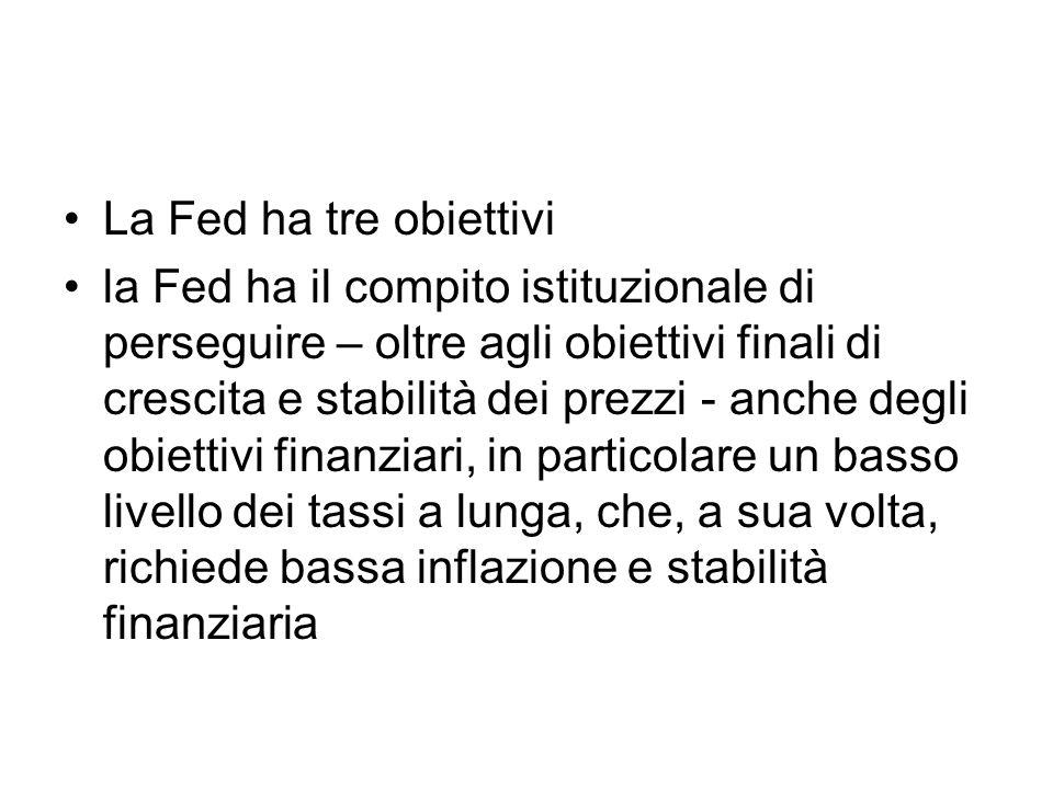 La Fed ha tre obiettivi la Fed ha il compito istituzionale di perseguire – oltre agli obiettivi finali di crescita e stabilità dei prezzi - anche degl