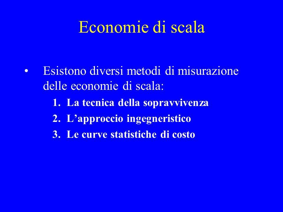 Economie di scala Riduzione dei costi medi unitari all'aumento della dimensione produttiva Il problema è connesso all'esistenza di una dimensione otti
