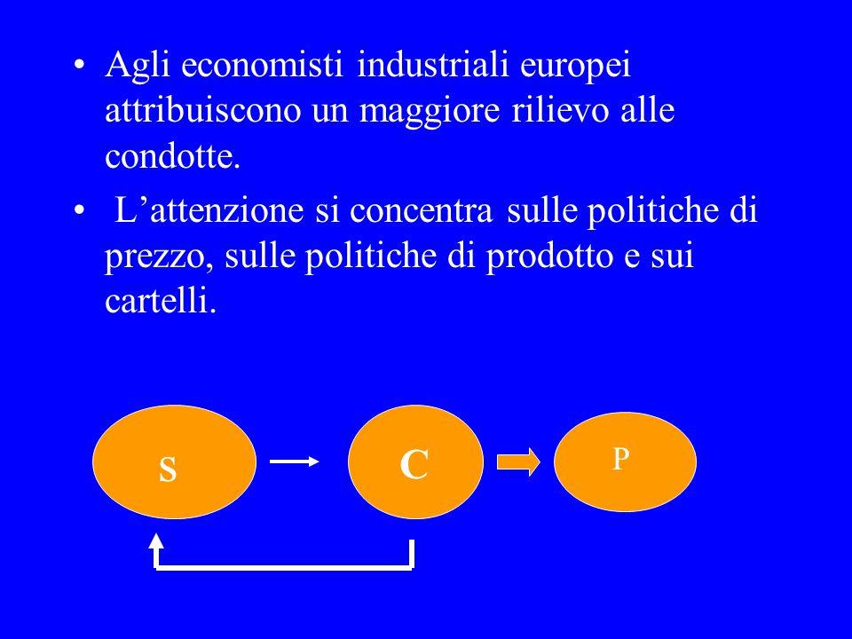 Agli economisti industriali europei attribuiscono un maggiore rilievo alle condotte.