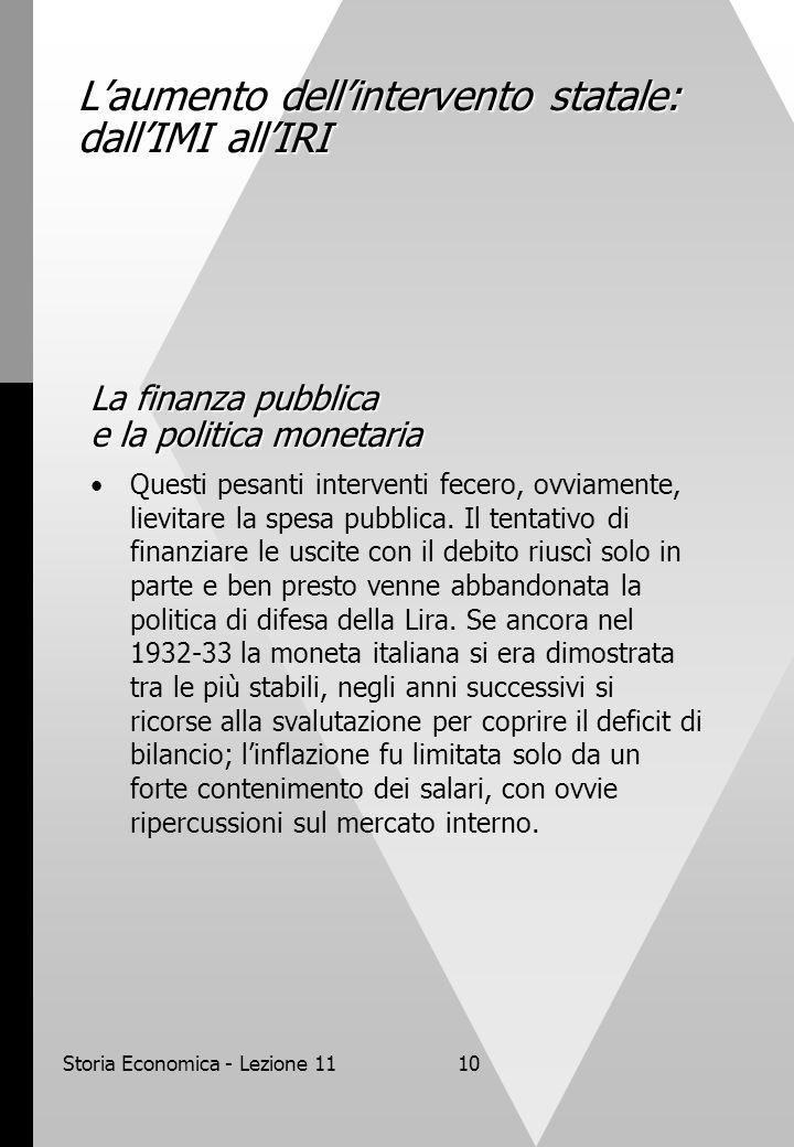 Storia Economica - Lezione 1110 L'aumento dell'intervento statale: dall'IMI all'IRI La finanza pubblica e la politica monetaria Questi pesanti interve