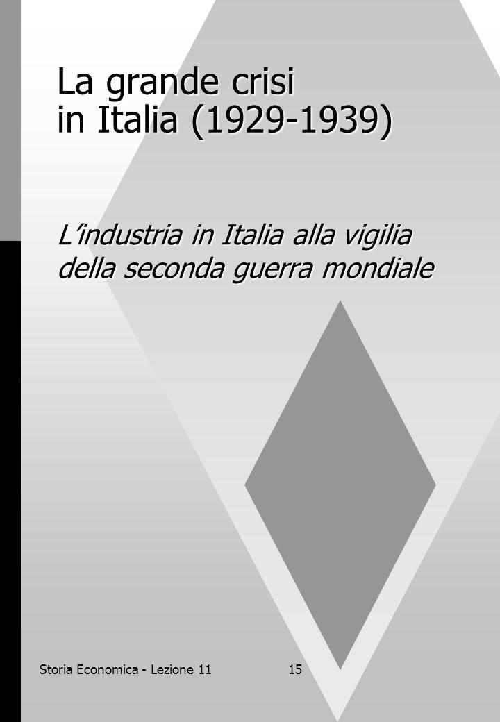 Storia Economica - Lezione 1115 La grande crisi in Italia (1929-1939) L'industria in Italia alla vigilia della seconda guerra mondiale