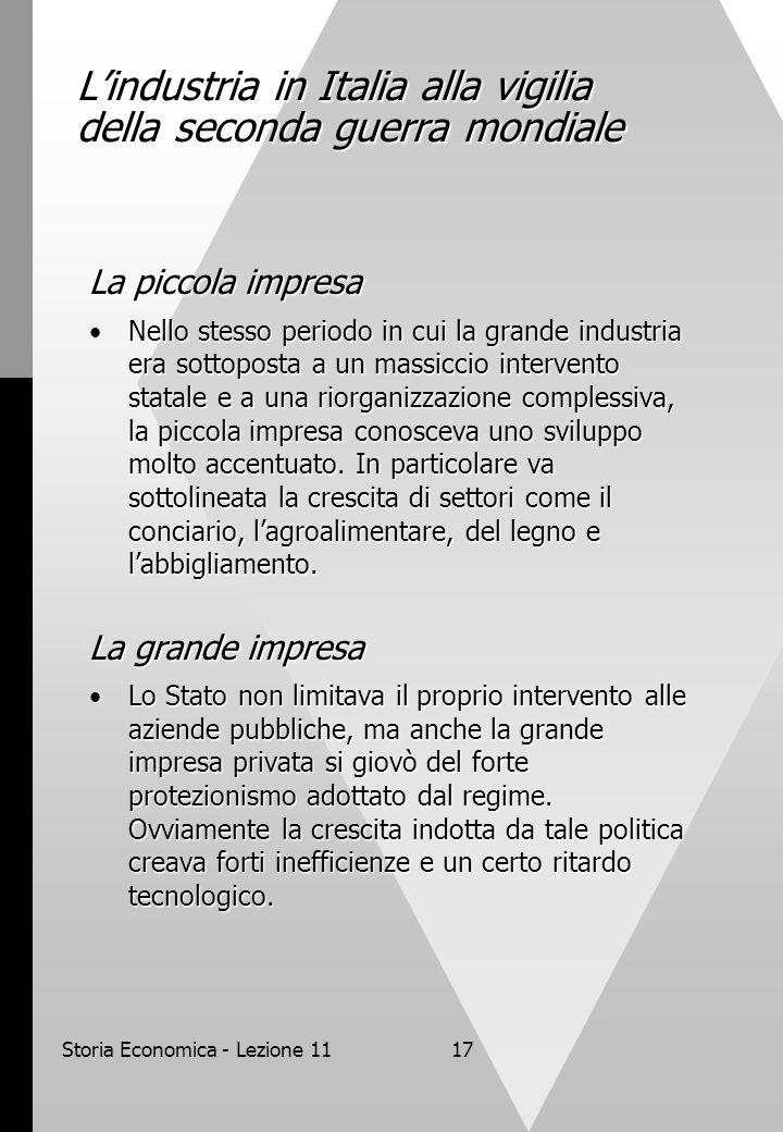 Storia Economica - Lezione 1117 L'industria in Italia alla vigilia della seconda guerra mondiale La piccola impresa Nello stesso periodo in cui la gra