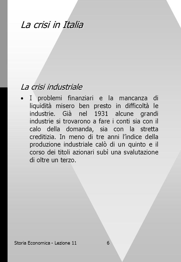 Storia Economica - Lezione 116 La crisi in Italia La crisi industriale I problemi finanziari e la mancanza di liquidità misero ben presto in difficolt