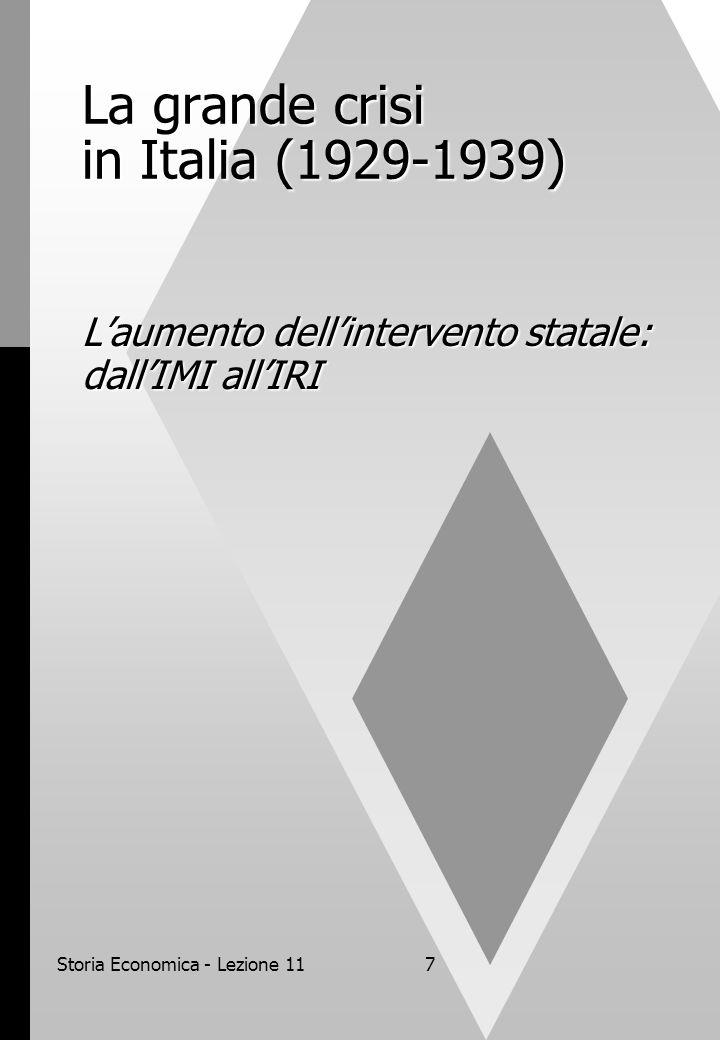 Storia Economica - Lezione 117 La grande crisi in Italia (1929-1939) L'aumento dell'intervento statale: dall'IMI all'IRI