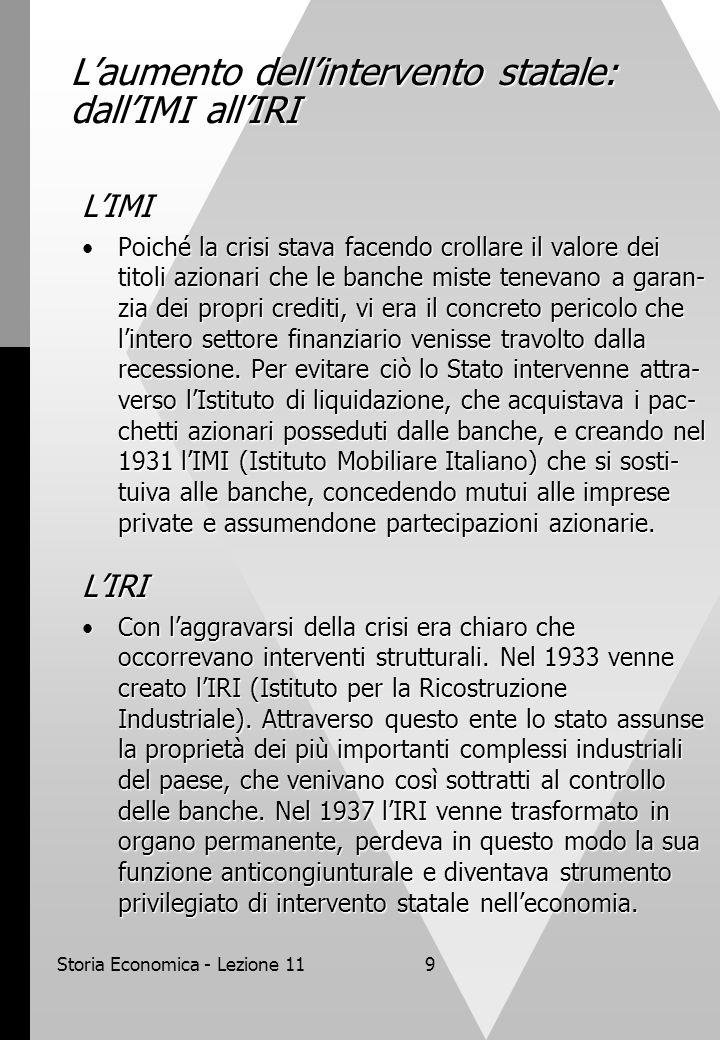 Storia Economica - Lezione 119 L'aumento dell'intervento statale: dall'IMI all'IRI L'IMI Poiché la crisi stava facendo crollare il valore dei titoli a