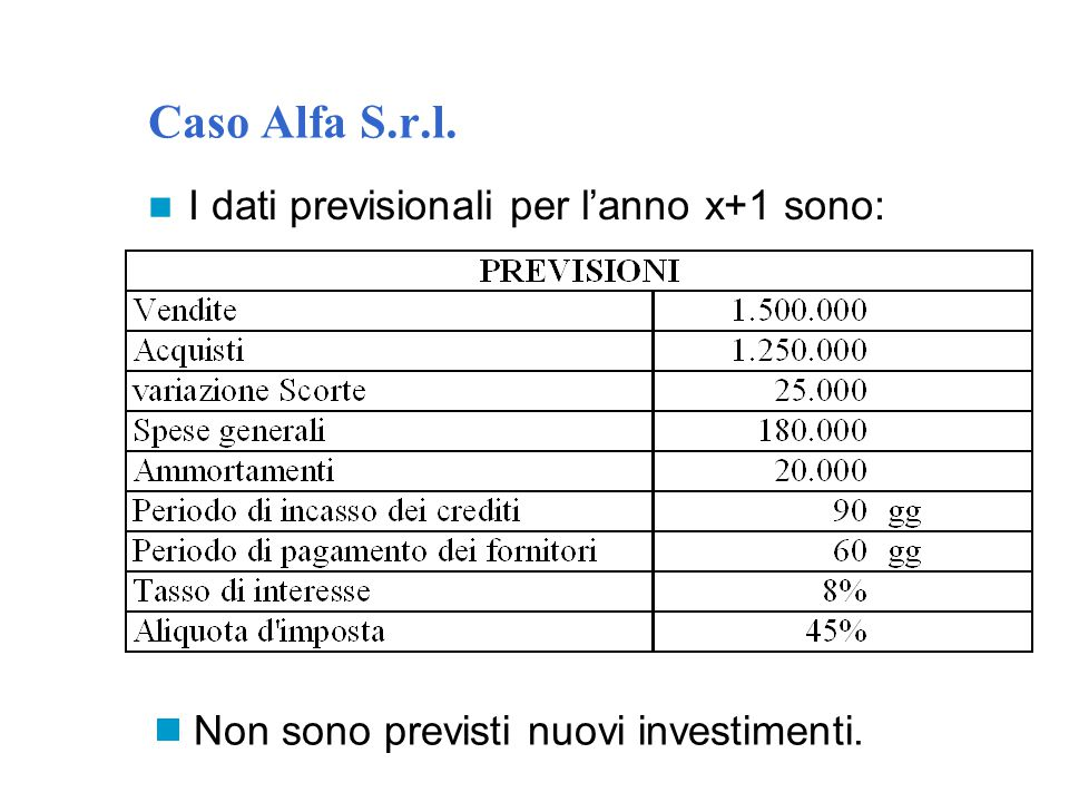 Caso Alfa S.r.l. I dati previsionali per l'anno x+1 sono:  Non sono previsti nuovi investimenti.