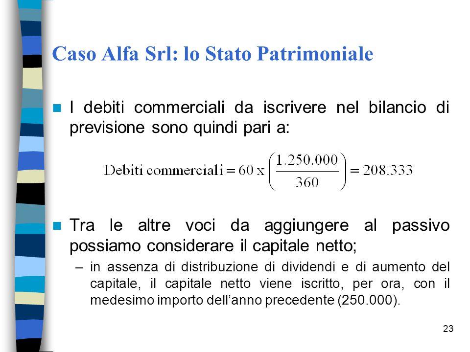 23 Caso Alfa Srl: lo Stato Patrimoniale I debiti commerciali da iscrivere nel bilancio di previsione sono quindi pari a: Tra le altre voci da aggiunge