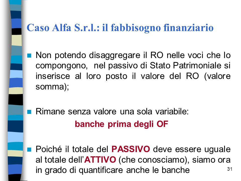 31 Caso Alfa S.r.l.: il fabbisogno finanziario Non potendo disaggregare il RO nelle voci che lo compongono, nel passivo di Stato Patrimoniale si inser