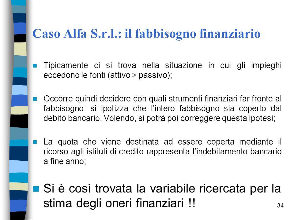 34 Caso Alfa S.r.l.: il fabbisogno finanziario Tipicamente ci si trova nella situazione in cui gli impieghi eccedono le fonti (attivo > passivo); Occo