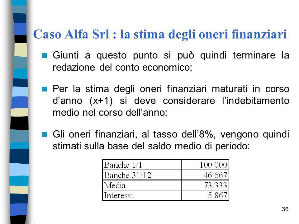 36 Caso Alfa Srl : la stima degli oneri finanziari Giunti a questo punto si può quindi terminare la redazione del conto economico; Per la stima degli