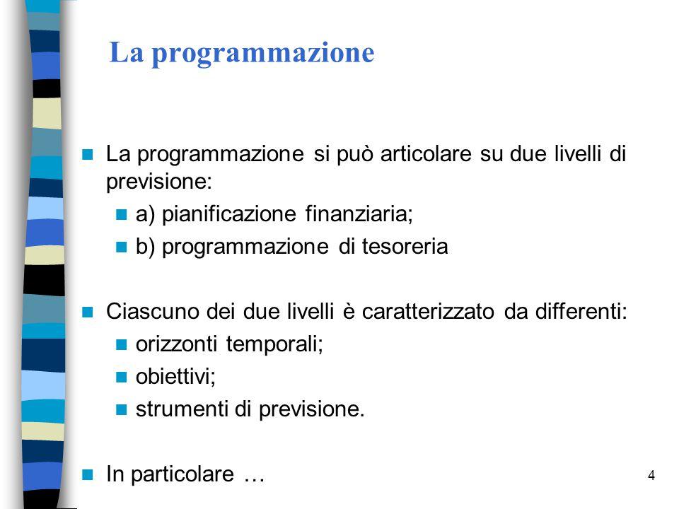 4 La programmazione La programmazione si può articolare su due livelli di previsione: a) pianificazione finanziaria; b) programmazione di tesoreria Ci
