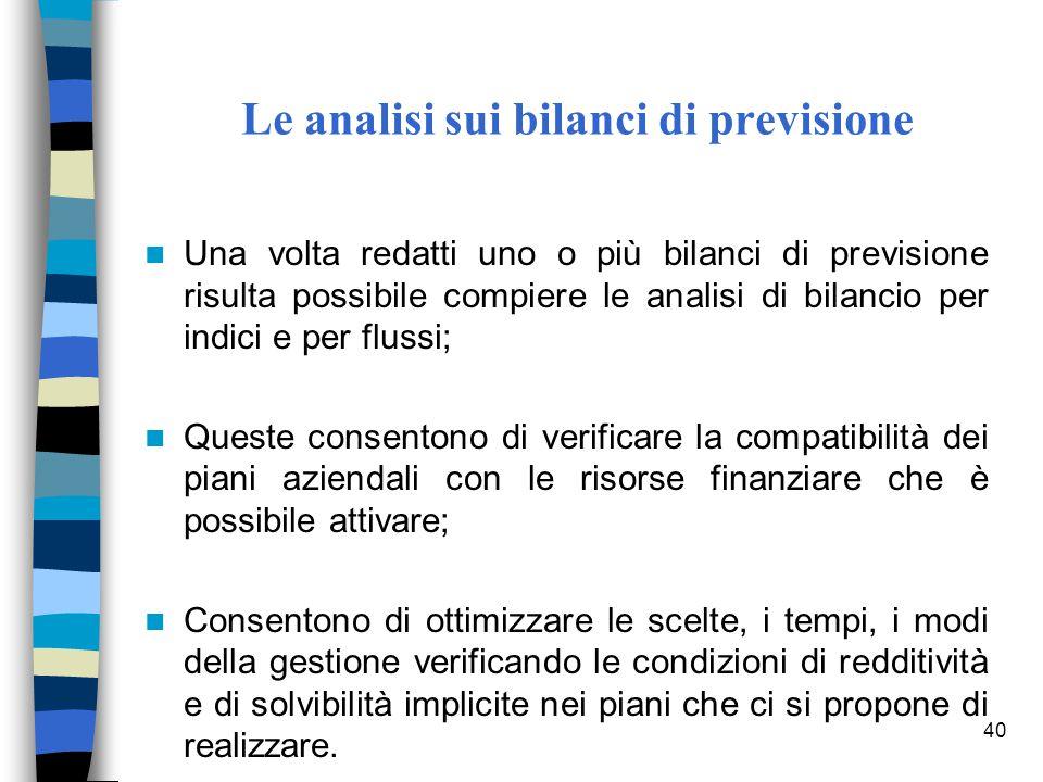 40 Le analisi sui bilanci di previsione Una volta redatti uno o più bilanci di previsione risulta possibile compiere le analisi di bilancio per indici