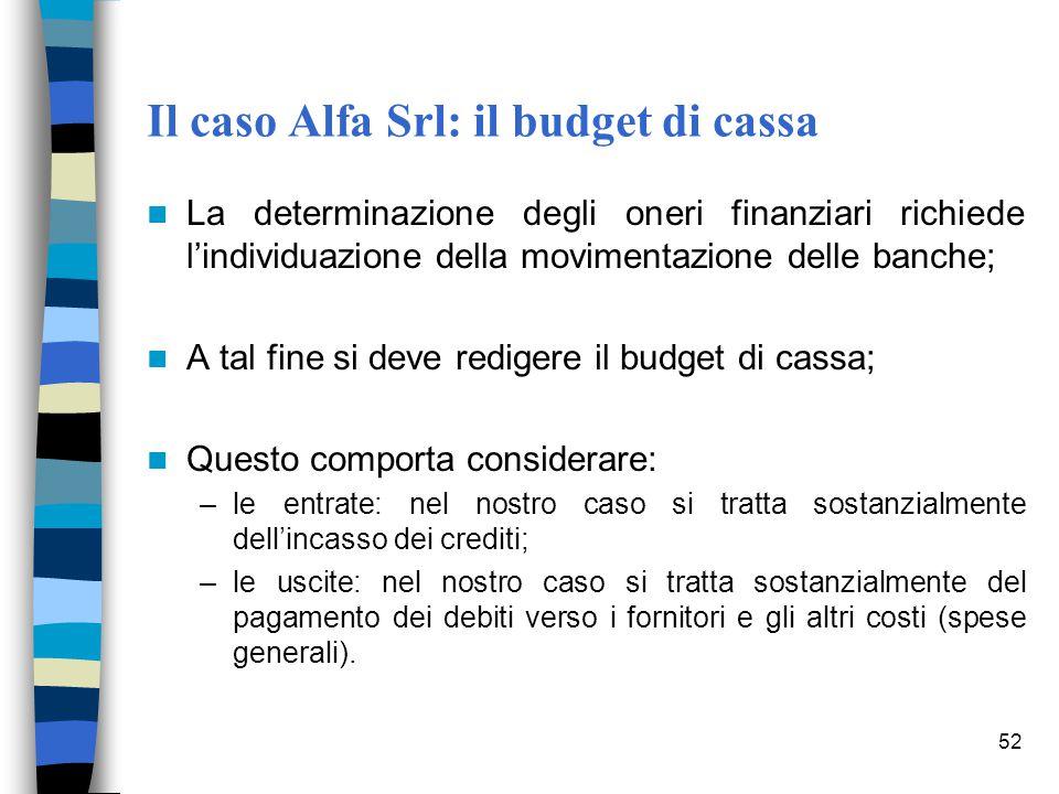 52 Il caso Alfa Srl: il budget di cassa La determinazione degli oneri finanziari richiede l'individuazione della movimentazione delle banche; A tal fi