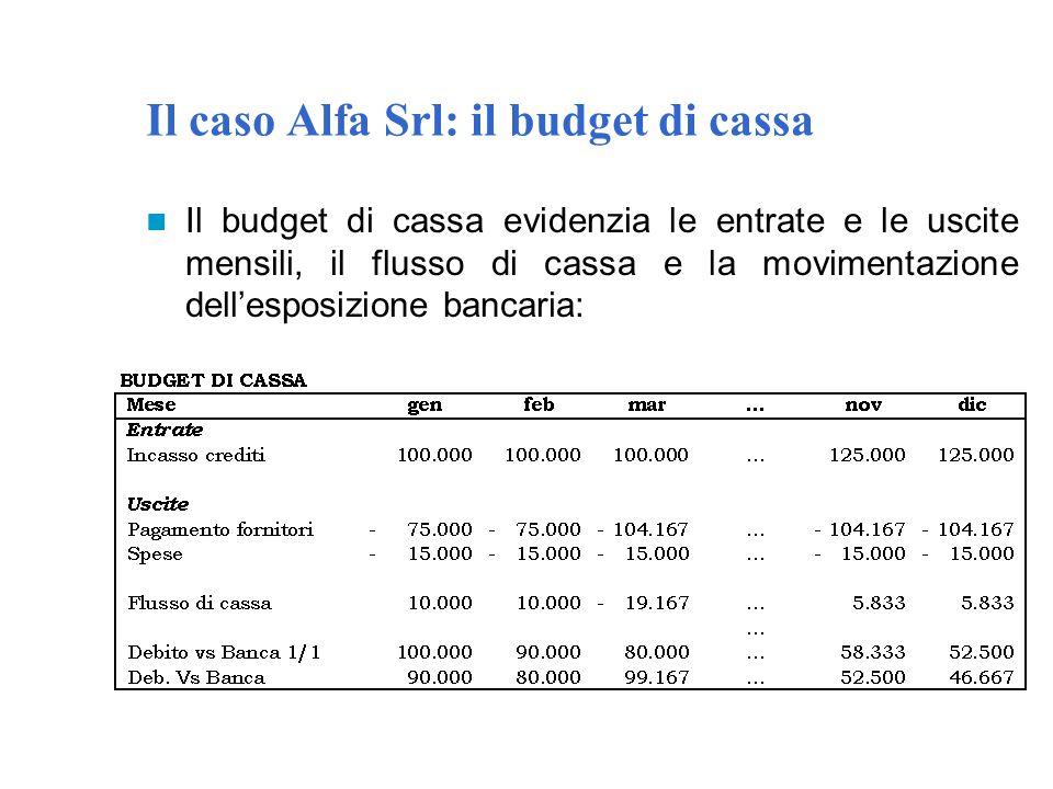 Il caso Alfa Srl: il budget di cassa Il budget di cassa evidenzia le entrate e le uscite mensili, il flusso di cassa e la movimentazione dell'esposizi