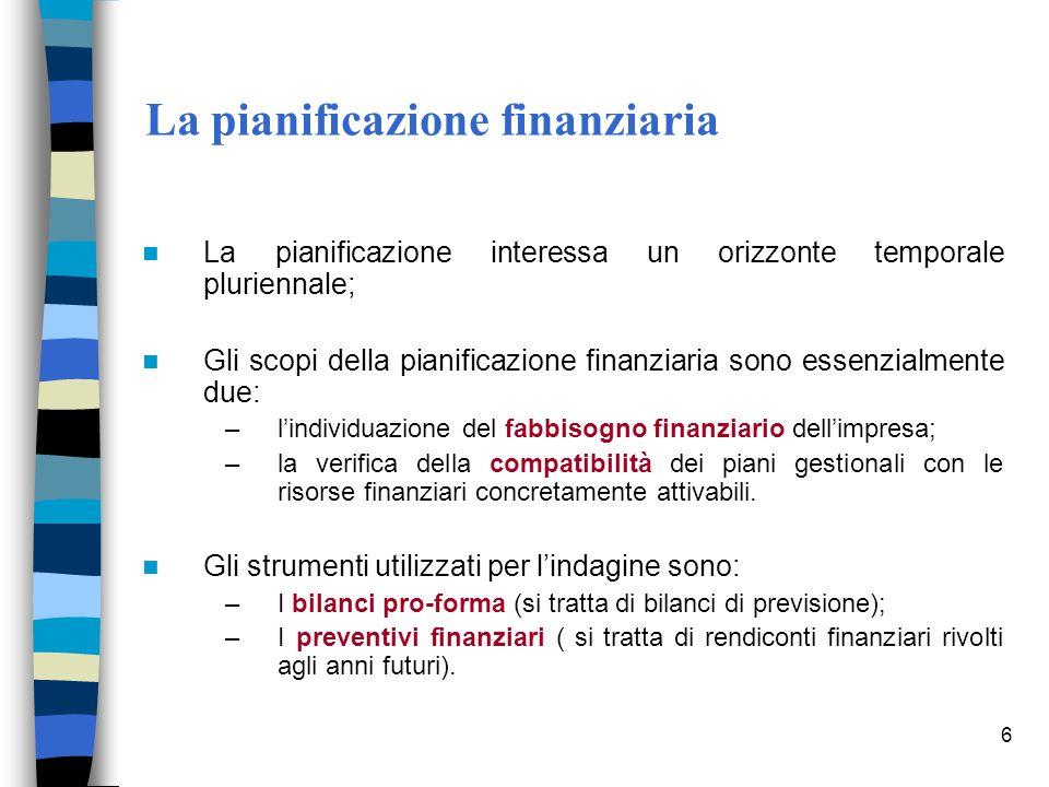 6 La pianificazione finanziaria La pianificazione interessa un orizzonte temporale pluriennale; Gli scopi della pianificazione finanziaria sono essenz