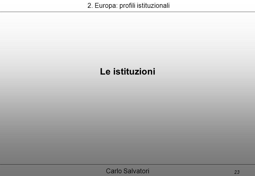 23 Carlo Salvatori Le istituzioni 2. Europa: profili istituzionali