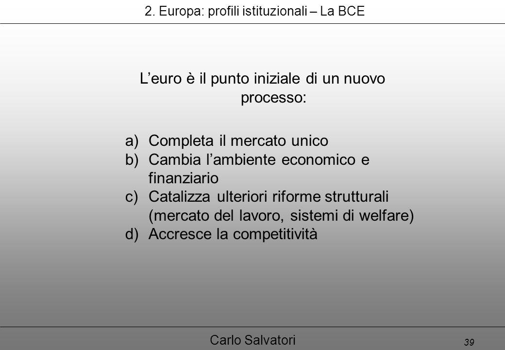 39 Carlo Salvatori a)Completa il mercato unico b)Cambia l'ambiente economico e finanziario c)Catalizza ulteriori riforme strutturali (mercato del lavoro, sistemi di welfare) d)Accresce la competitività 2.