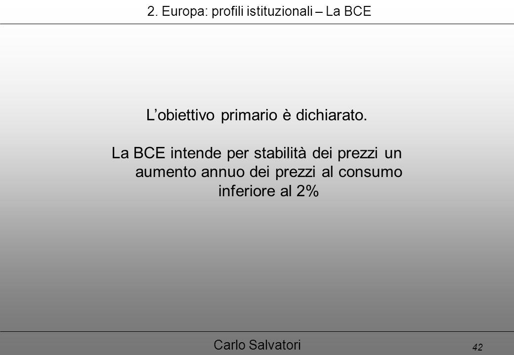 42 Carlo Salvatori 2. Europa: profili istituzionali – La BCE L'obiettivo primario è dichiarato.