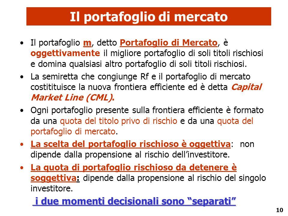 10 Il portafoglio di mercato mIl portafoglio m, detto Portafoglio di Mercato, è oggettivamente il migliore portafoglio di soli titoli rischiosi e domi