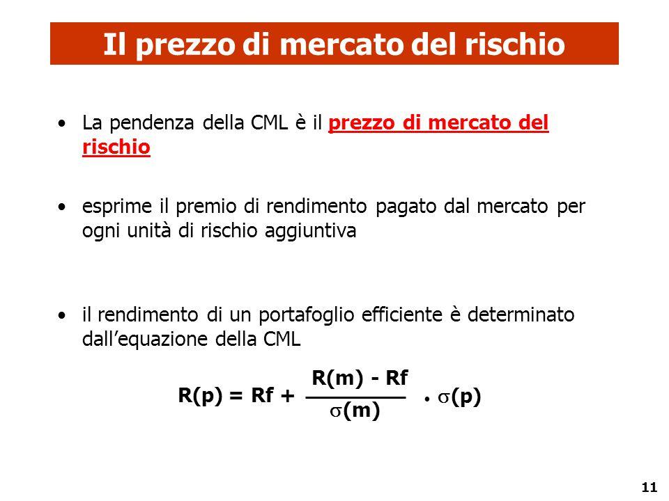 11 La pendenza della CML è il prezzo di mercato del rischio esprime il premio di rendimento pagato dal mercato per ogni unità di rischio aggiuntiva il