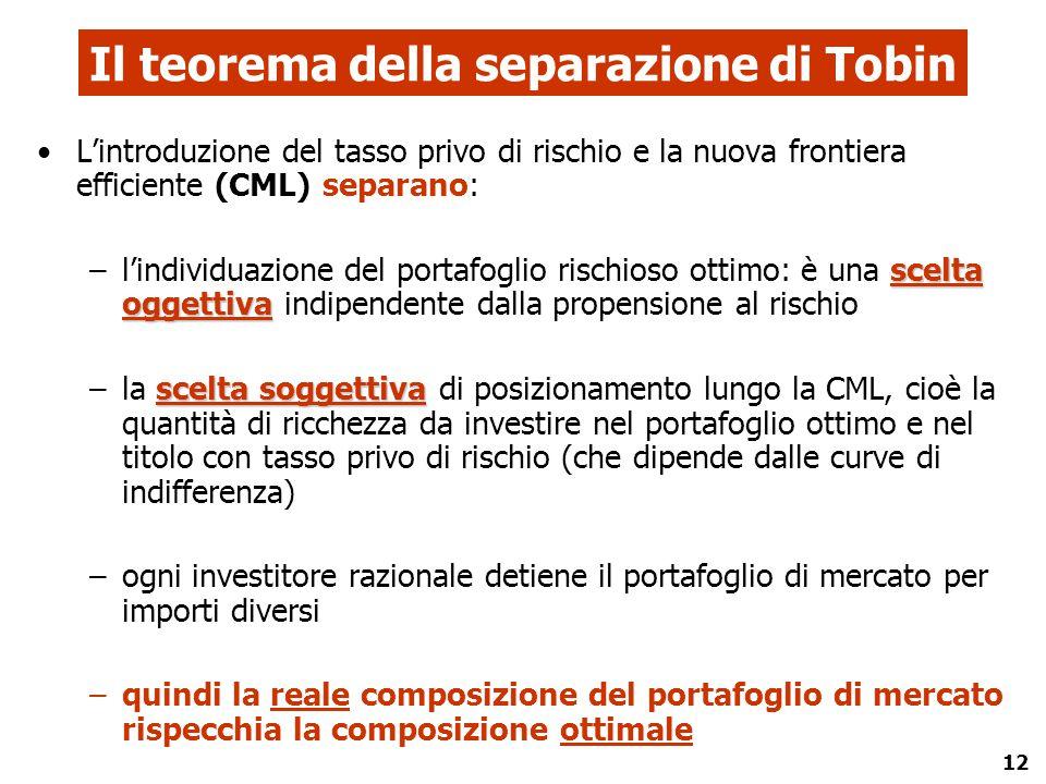 12 Il teorema della separazione di Tobin L'introduzione del tasso privo di rischio e la nuova frontiera efficiente (CML) separano: scelta oggettiva –l