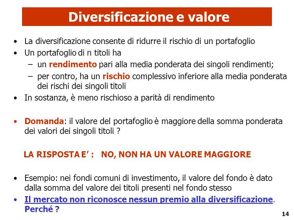 14 Diversificazione e valore La diversificazione consente di ridurre il rischio di un portafoglio Un portafoglio di n titoli ha –un rendimento pari al