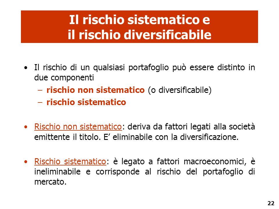 22 Il rischio sistematico e il rischio diversificabile Il rischio di un qualsiasi portafoglio può essere distinto in due componenti –rischio non siste
